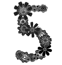 Hand Drawn Floral Number 5 vector image