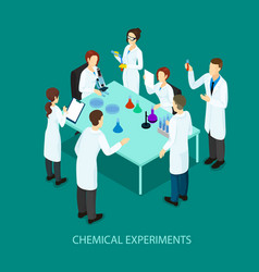 Isometric chemical research template vector