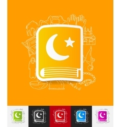 koran paper sticker with hand drawn elements vector image