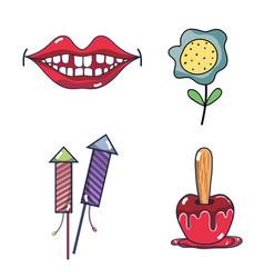 Mouth firework apple and flower festa junina set vector