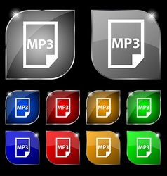 mp3 icon sign Set of ten colorful buttons with vector image