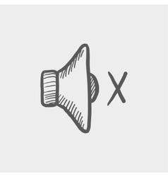 Mute speaker sketch icon vector image vector image