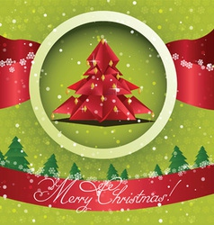 Origami Christmas tree Card vector image