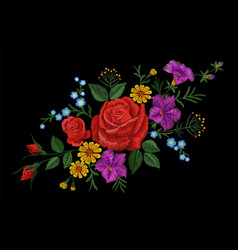 rose flower embroidery texture patch red field vector image