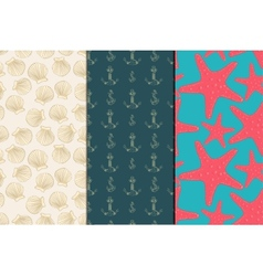 Seamless pattern sea set vector image