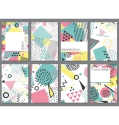 Set of eight cards in memphis style with vector