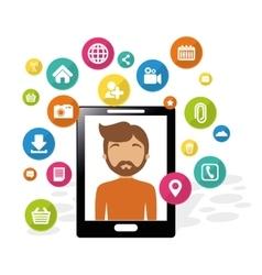 smartphone man social media application vector image vector image