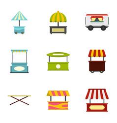 Street kiosk icon set flat style vector