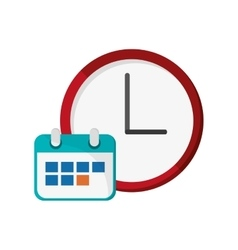 wall clock and calendar icon vector image