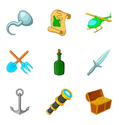 water technology icons set cartoon style vector image