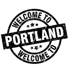 Welcome to portland black stamp vector