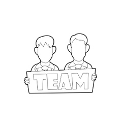 Businessmen holding sign board with team word icon vector