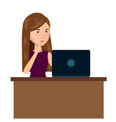 Cartoon woman laptop desk e-commerce isolated vector