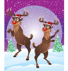 Rudolph the reindeer enjoying snowfall vector