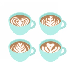 Four cups different drawings on coffee foam vector