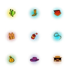 Cowboys of wild west icons set pop-art style vector