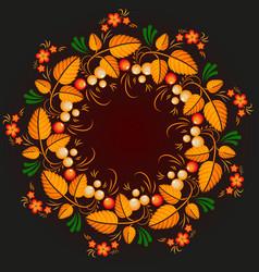 wreath khokhloma vector image