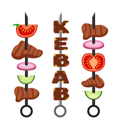 Set of kebab minced meat grilled meat food and vector