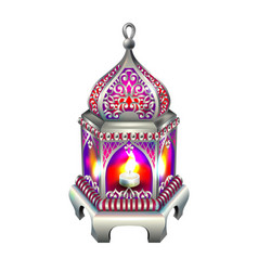 Vintage silver lantern with a red glow vector