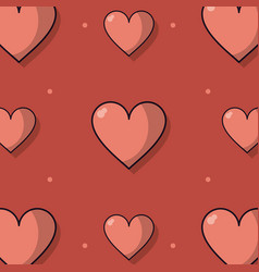 colorful background with pattern of hearts vector image
