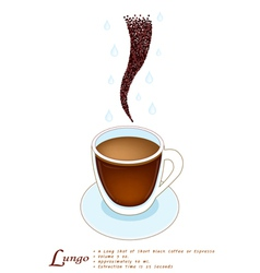 Lungo coffee in a white glass cup vector