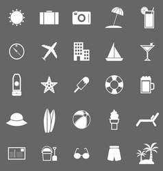 Summer icons on gray background vector