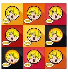 Flat pop art exclaim girl vector