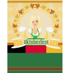 Pretty waitress with beer oktoberfest card vector