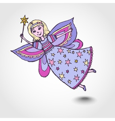 Sketch of fairy with a magic wand vector