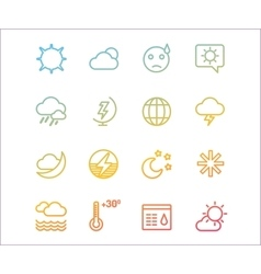 Weather icons outline set moon sky or vector