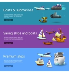 Ships and boats banners set vector