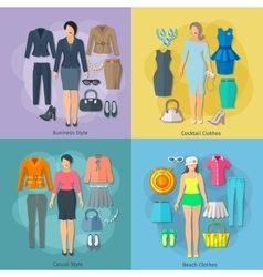 Woman clothes square concept icons set vector