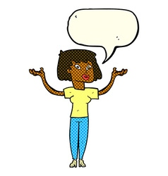 Cartoon woman holding up hands with speech bubble vector