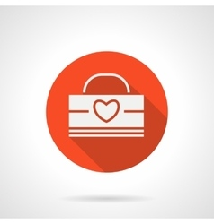 Valentines day sales red round icon vector