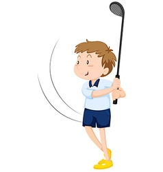 Man playing golf alone vector