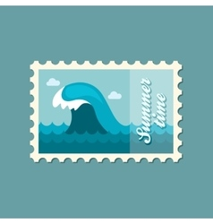 Ocean wave stamp summer vacation vector