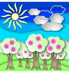 abstract paper collage with spring trees vector image vector image