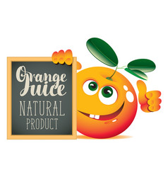 banner for fresh juice with funny orange vector image