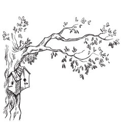 bird houses on a tree vector image vector image