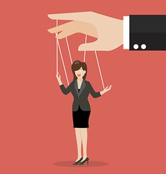 Business woman marionette on ropes vector image vector image