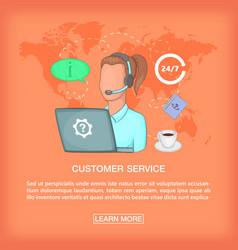 Call center concept girl support cartoon style vector