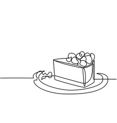 Continuous line drawing of piece cake vector