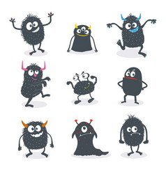 cute cartoon monsters set vector image vector image