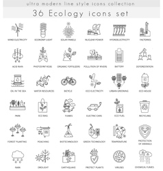 Ecology ultra modern outline line icons for vector image vector image