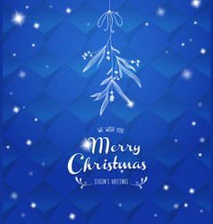 Handwritten christmas with hanging mistletoe - vector