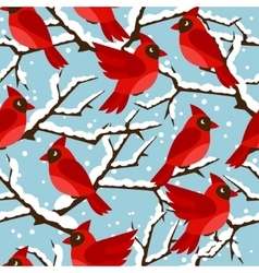 Happy holidays seamless pattern with birds red vector image vector image