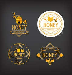 Honey label design bee badge vector