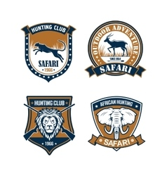 Hunting club and safari trip heraldic badge set vector