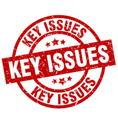 Key issues round red grunge stamp vector