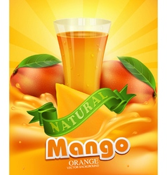 mango and glass of juice slices of mango vector image